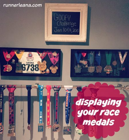 displaying race medals