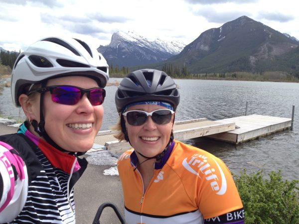 riding past Vermilion Lakes on the Banff Legacy Trail
