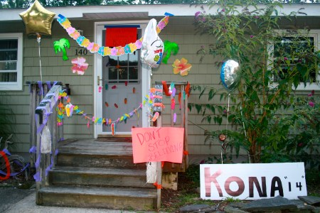 When I came home from Ironman Louisville in 2014, my friends and family decorated the house. Prominently featured is my credo: Don't Stop Believing.