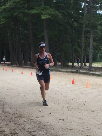 Coming in to the finish line at the Egg Harbor Sprint Tri. This run was only 5k, but it felt like for-EVAH!