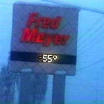 Fred Meyer Sign at 55 Below