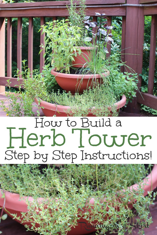 DIY Herb Tower - includes step by step instructions to build this vertical planter for a garden on your deck, balcony or another small space. The perfect space saver gardening idea. / Running in a Skirt #garden #herbgarden #verticalgarden #urbangardening #gardening #healthyliving via @juliewunder