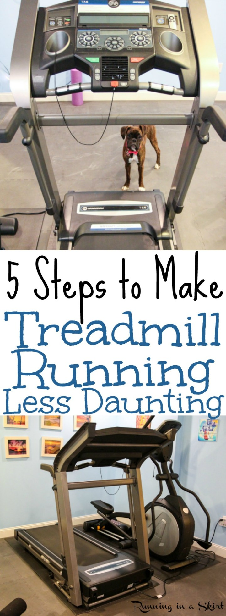 5 Tips to Make Treadmill Running Less Daunting.  And easy and awesome plan to make the time go by faster including workout ideas. Motivation for beginners or advanced. / Running in a Skirt via @juliewunder