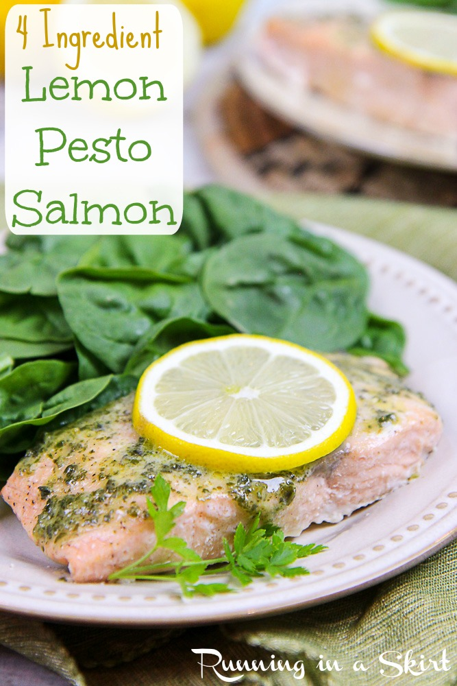4 Ingredient Lemon Pesto Salmon