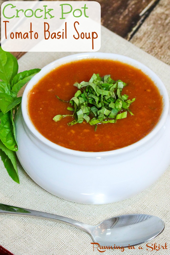 Tomato basil soup in a white bowl.