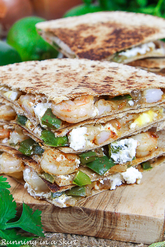 Shrimp quesadilla with bell pepper, goat cheese and onions.