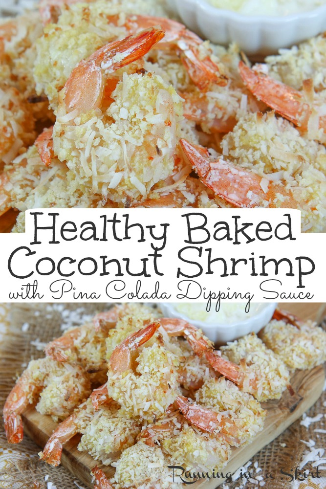 Healthy Oven Baked Coconut Shrimp - only 7 Ingredients for the crispy shrimp AND the greek yogurt based Pina Colada Dipping Sauce. This easy recipe is the BEST Coconut Shrimp. Tastes like copycat Red Lobster but healthier. Perfect for an appetizer or dinner. Pescatarian, Low Carb / Running in a Skirt #healthy #copycat #redlobster #shrimp via @juliewunder