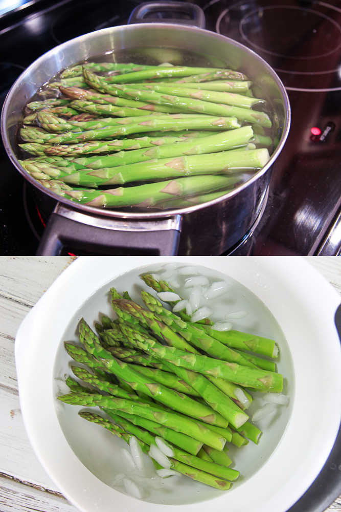 Process shot showing how to blanch asparagus for a salad.