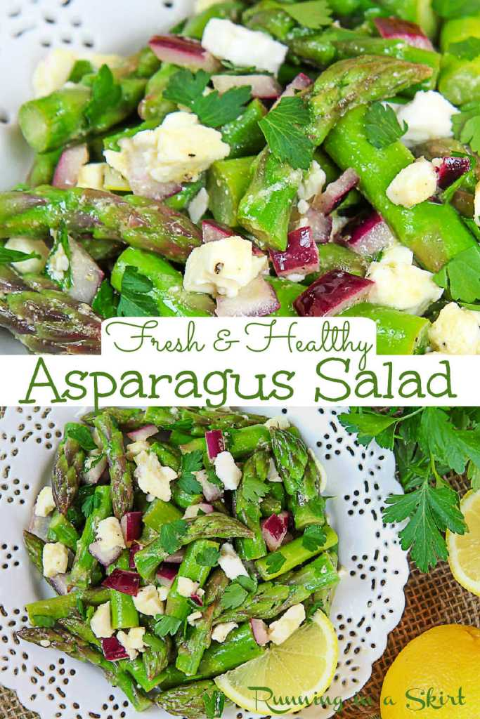 Pinterest Pin for Cold Asparagus Salad recipe collage.
