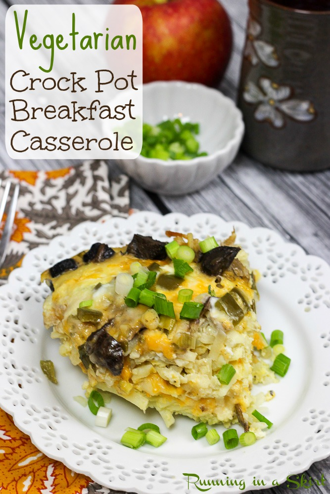 Vegetarian CrockPot Breakfast Casserole recipe / Running in a Skirt