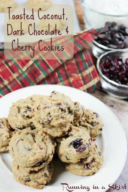 Toasted Coconut Cookies with dark chocolate and cherries/ Running in a Skirt