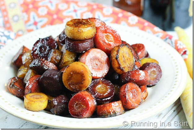 Healthy Honey Balsamic Rainbow Carrots recipe - roasted & glazed in honey balsamic - easy & simple / Running in a Skirt