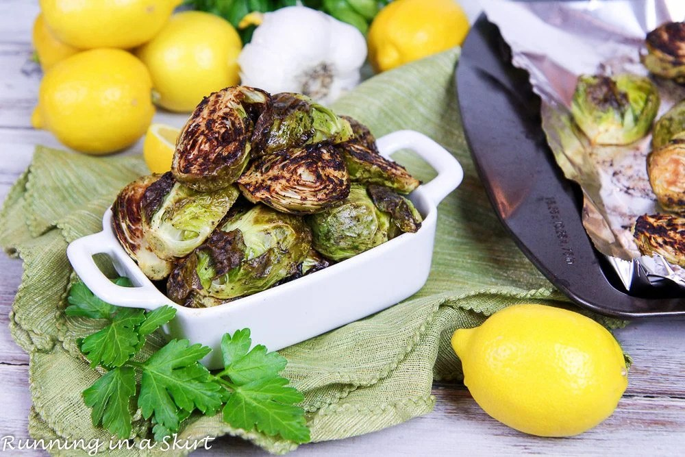 Healthy Lemon Roasted Brussel Sprouts with Garlic