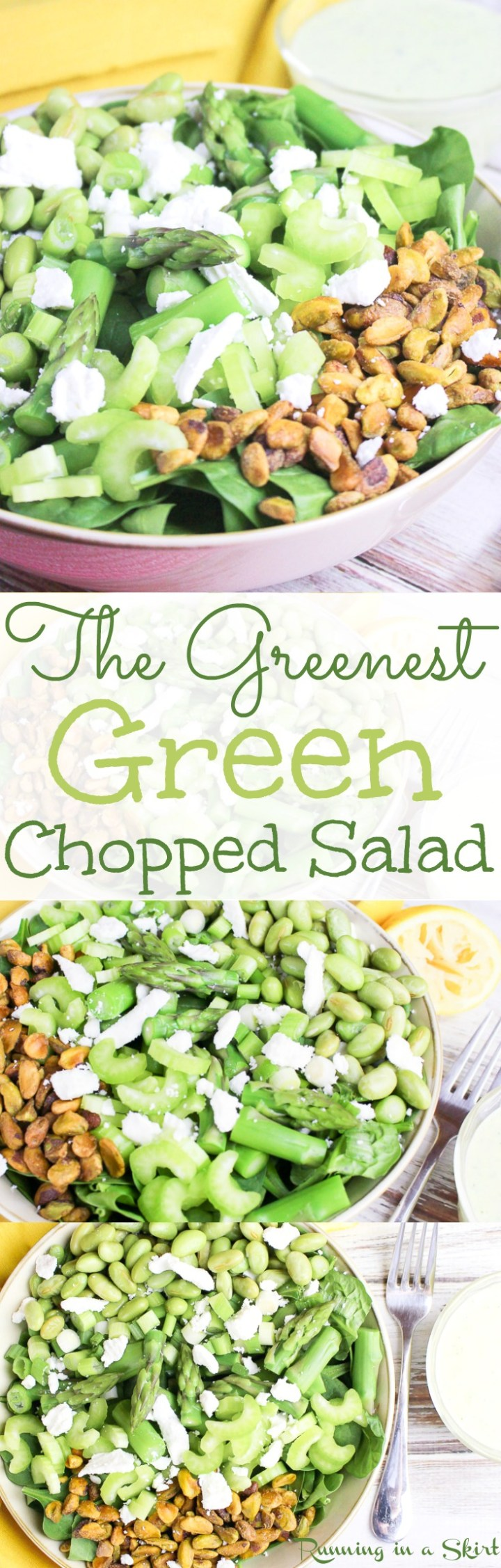 The Greenest Green Chopped Salad recipe with homemade Green Goddess Dressing. An easy & healthy green chopped salad with a basic dressing. Topped with feta but can be vegan friendly and gluten free. / Running in a Skirt via @juliewunder