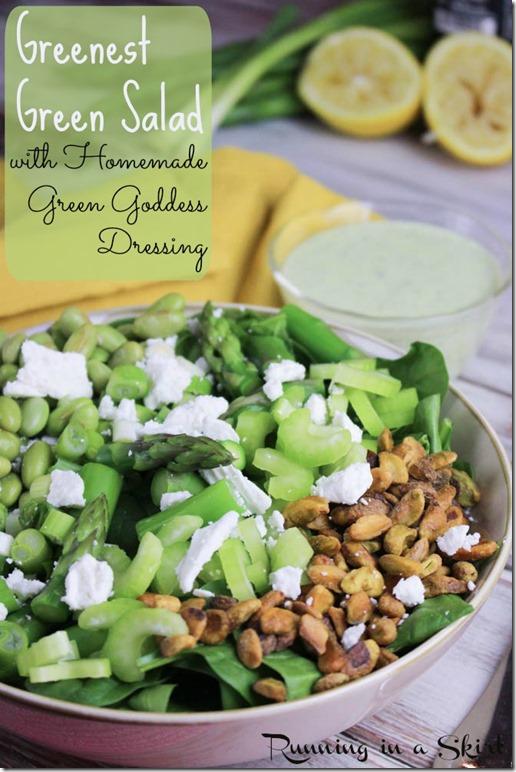 Best Green Salad with Homemade Green Goddess Dressing - uses greek yogurt! / Running in a Skirt