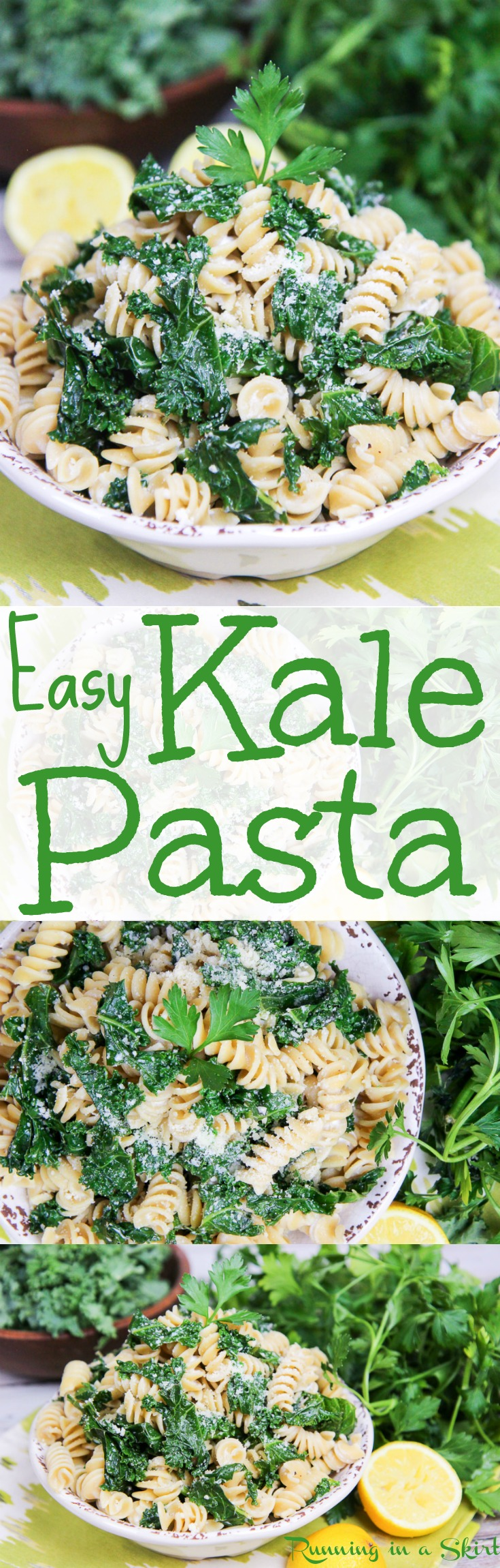 Easy & Healthy Lemon Kale Pasta recipe. An easy vegetarian weekday dinner with a light slightly creamy sauce. A homemade dish that is great for Meatless Monday and when you are craving comfort foods. Includes Parmesan cheese, greek yogurt and garlic. Vegetarian with Vegan option. / Running in a Skirt via @juliewunder