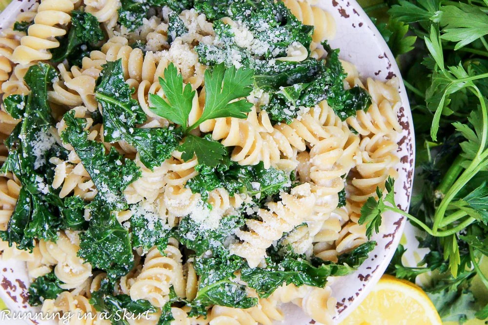 Healthy & Easy Kale Pasta recipe / Running in a Skirt