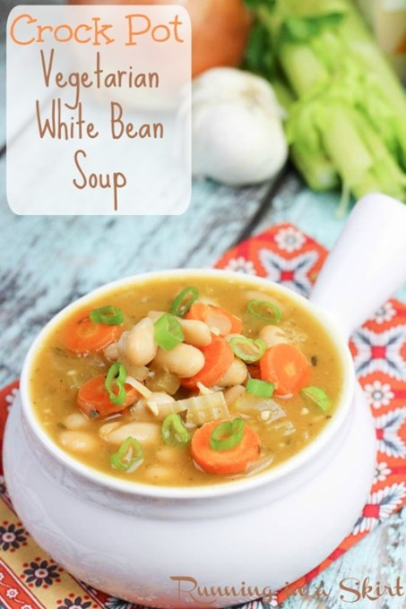 Crock Pot Vegetarian White Bean Soup - delicous vegetarian crock pot recipe! One of my favorites/ Running in a Skirt