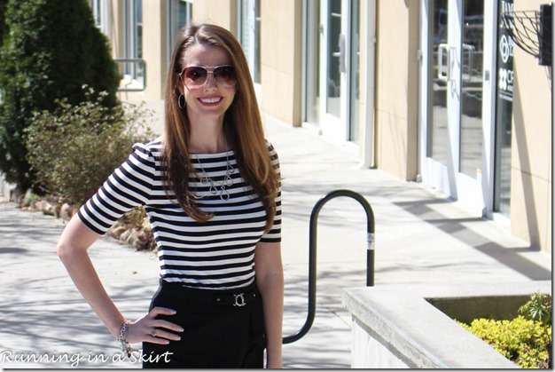 Black and white stripes is a classic fashion statement that stands the test of time! / Running in a