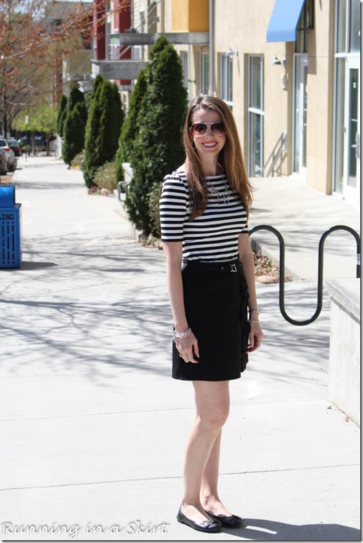 Black and white stripes is a classic fashion statement that stands the test of time! / Running in a Skirt