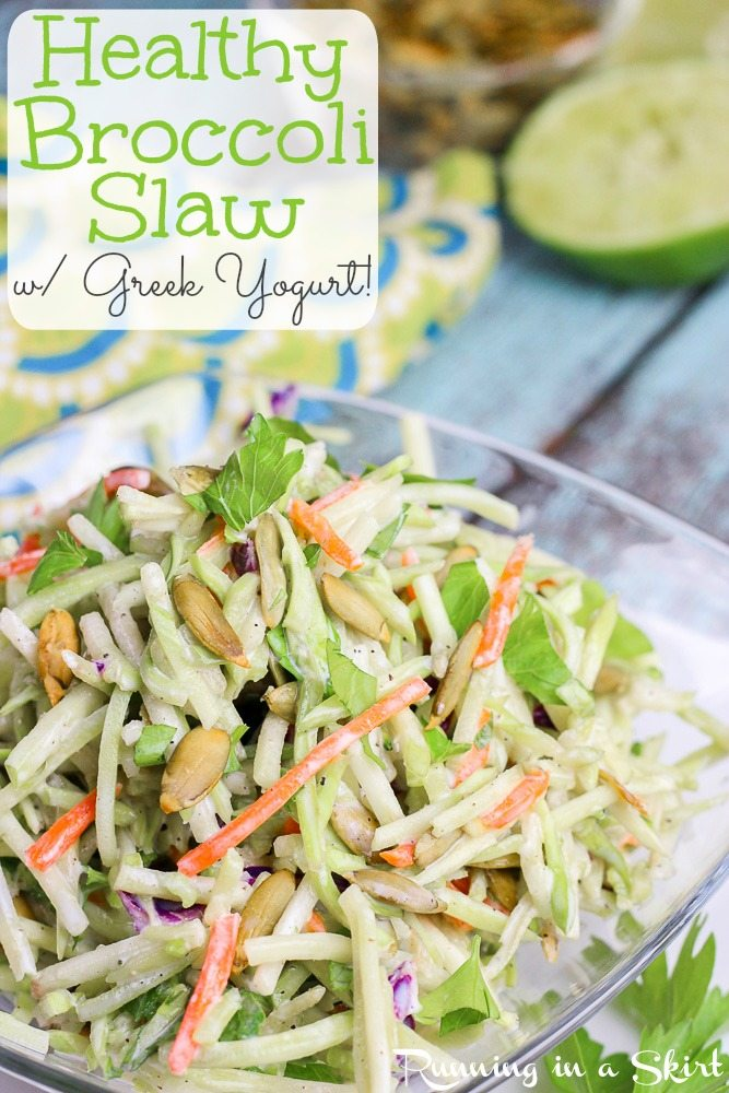 A bowl of healthy broccoli slaw.