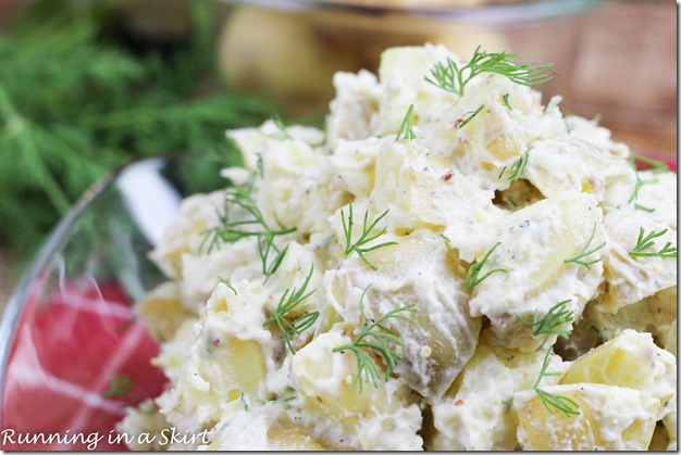 Greek Yogurt Potato Salad with dill/ Potato salad doesn't have to be a heavy, calorie rich cookout treat! My version is a Greek yogurt potato salad with dill. It has low calories and big flavor! / Running in a Skirt