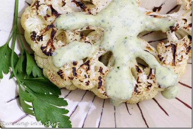 Grilled Cauliflower Steak Recipe with Green Goddess Dipping Sauce! YUM!