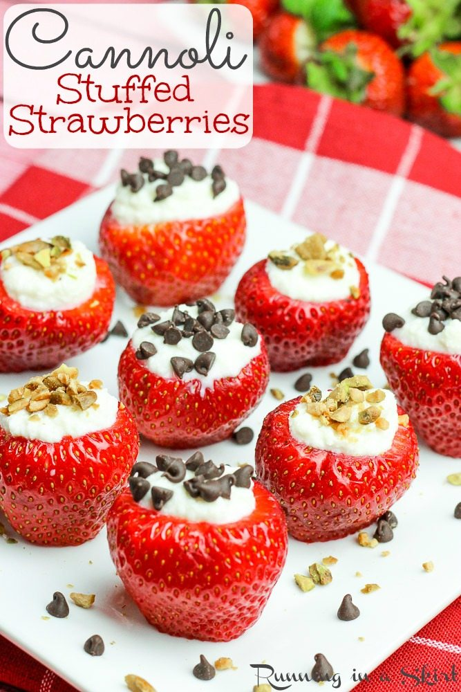 healthy cannoli stuffed strawberries