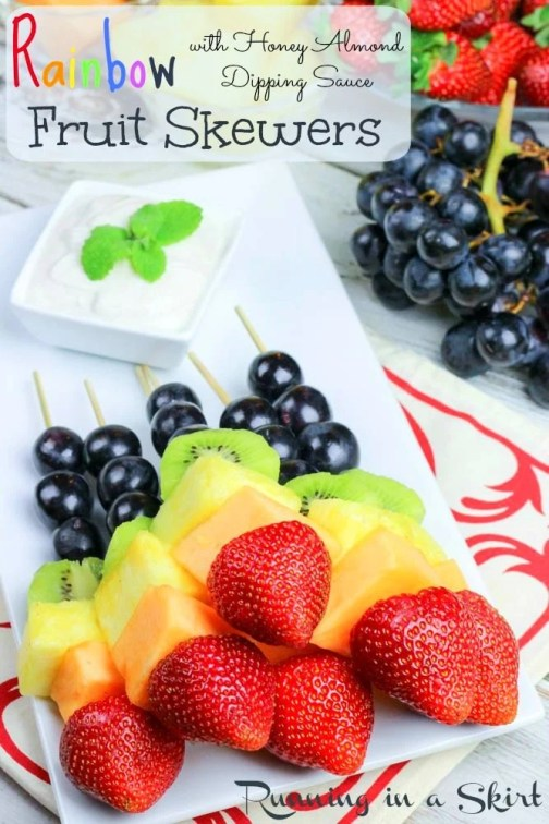 Rainbow Fruit Skewers with Greek Yogurt Honey Lime Sauce