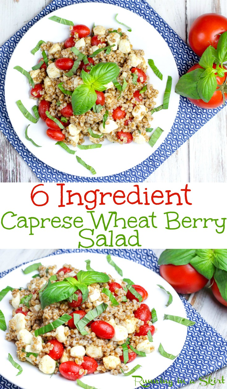 6 Ingredient Caprese Wheat Berry Salad recipe. Looking for wheat berry recipes or how to cook wheat berry?  This healthy, nutrition-packed salad is a perfect food.  Simple with fresh mozzarella, tomato, and basil.  Vegetarian and clean eating. You can sub quinoa for a gluten free idea. / Running in a Skirt