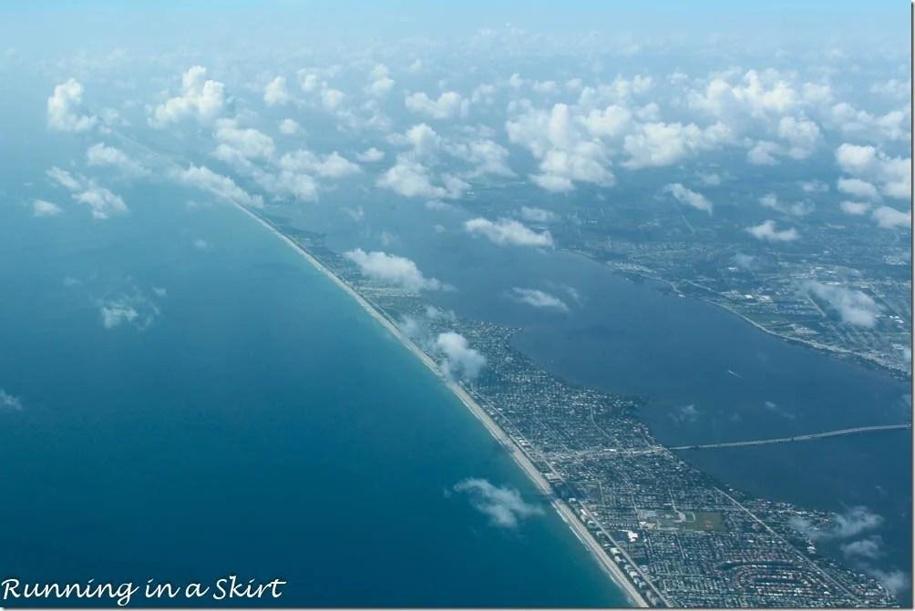 Flying to the Bahamas - Florida coast