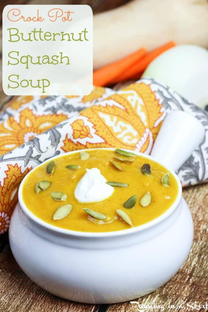 Butternut Squash Soup recipe Crock Pot pinterest pin.