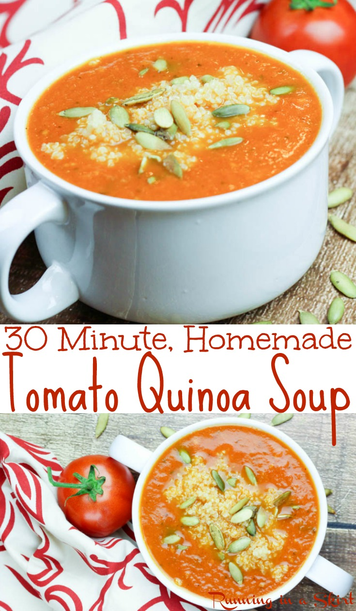 Healthy 30 Minute Tomato Quinoa Soup recipe - vegan friendly, dairy free, vegetarian and gluten free comfort foods! Clean eating, quick, simple and the perfect easy recipes packed with vegetables. Protein from the quinoa makes this a well rounded meal. / Running in a Skirt #soup #healthy #quinoa #tomato #vegan #vegetarian via @juliewunder