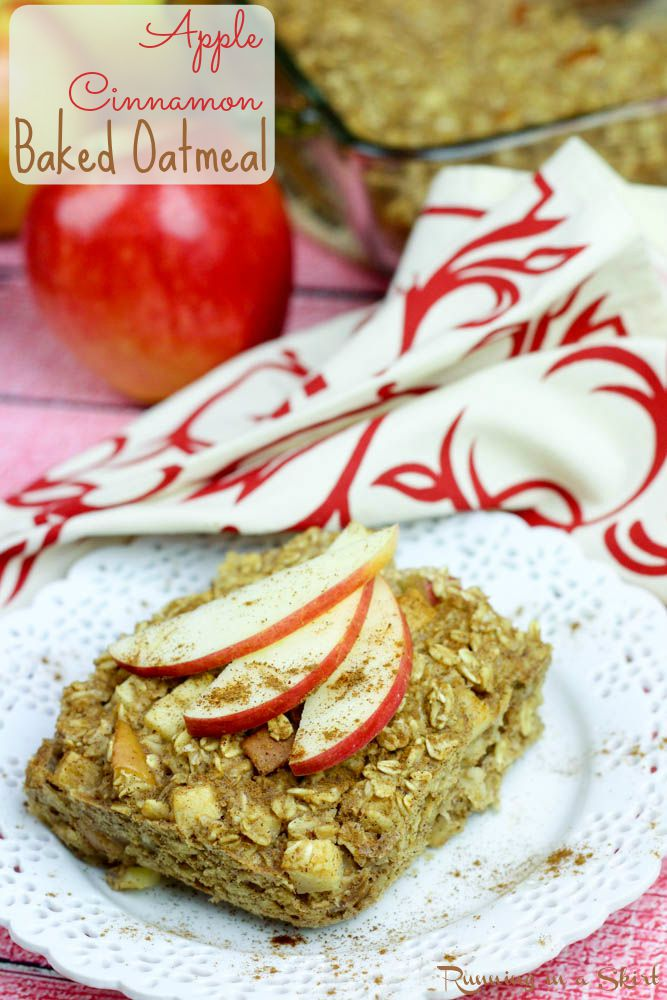 Apple Cinnamon Baked Oatmeal / Running in a Skirt