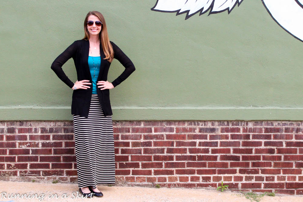 Fashion Friday - Black and White Maxi Skirt with green accents / Running in a Skirt