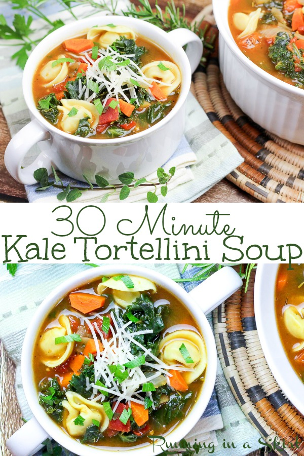 30 Minute Vegetarian Kale Tortellini Soup recipe - healthy, quick, easy and packed with vegetables like carrots, onion, tomato. Made stovetop and uses frozen cheese tortellini. The perfect meatless comfort foods for families or couples.  / Running in a Skirt #soup #vegetarian #healthy #recipe #kale #tortellini #30minutemeal #mealplanning #pasta #meatless #meatlessmonday