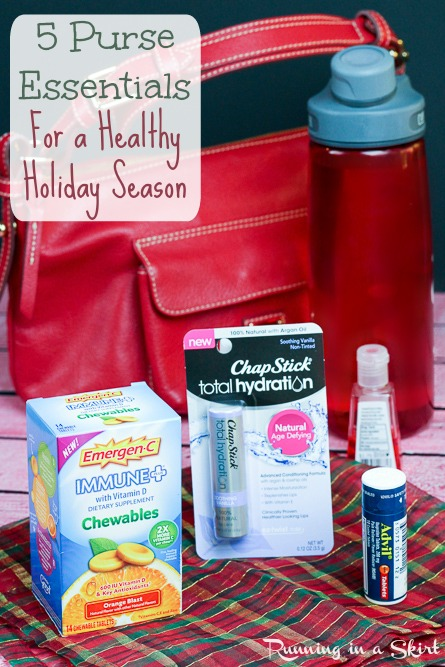Purse Essentials for Healthy Holidays- keep these items in your purse to fight off colds this winter! / Running in a Skirt