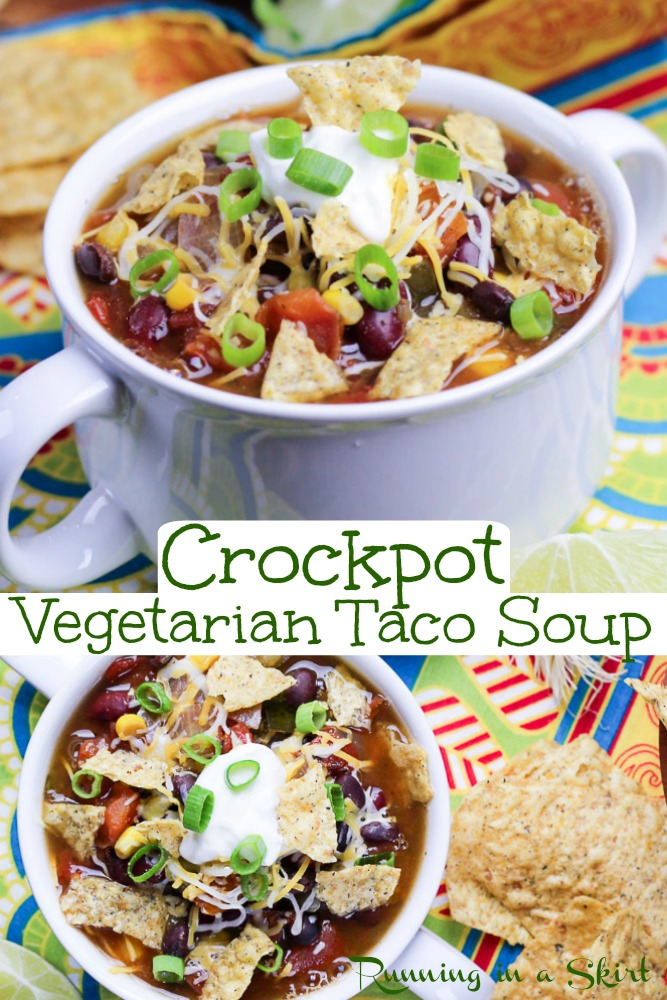Vegetarian Taco Soup - Crockpot Recipe. An easy, quick, and healthy dinner for the slow cooker. This is the BEST Taco Soup filled with simple beans, canned tomatoes, and vegetables. The soup recipe is vegan and the topping you add can keep it vegan or make it vegetarian. / Running in a Skirt #slowcooker #crockpot #tacosoup #crockpotsoup #vegetariancrockpot via @juliewunder