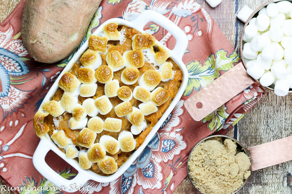 Best Sweet Potato Casserole with Marshmallows - My Mom's famous recipe- the real deal with butter and brown sugar- doesn't get any better than this!/ Running in a Skirt