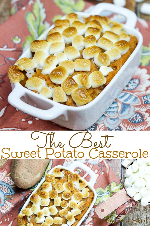 The Best Sweet Potato Casserole with marshmallows recipe! My Mom's easy, simple famous family recipe! This is the real deal with brown sugar, butter and without nuts! The best comfort foods for dinners and the perfect addition to Thanksgiving dinner. A great holiday, fall or Thanksgiving sides. | Running in a Skirt via @juliewunder