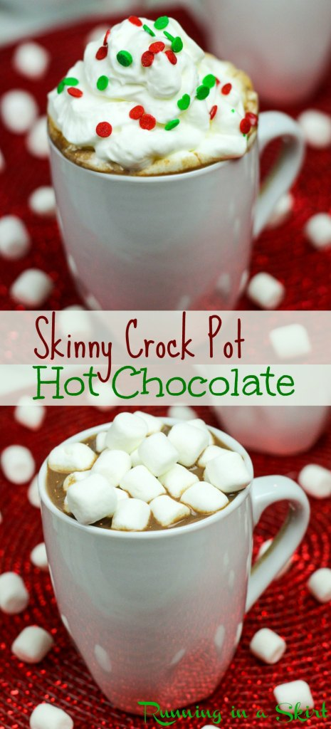 Crock Pot Skinny Hot Chocolate recipe- perfect for Christmas or any winter gathering/ Running in a Skirt