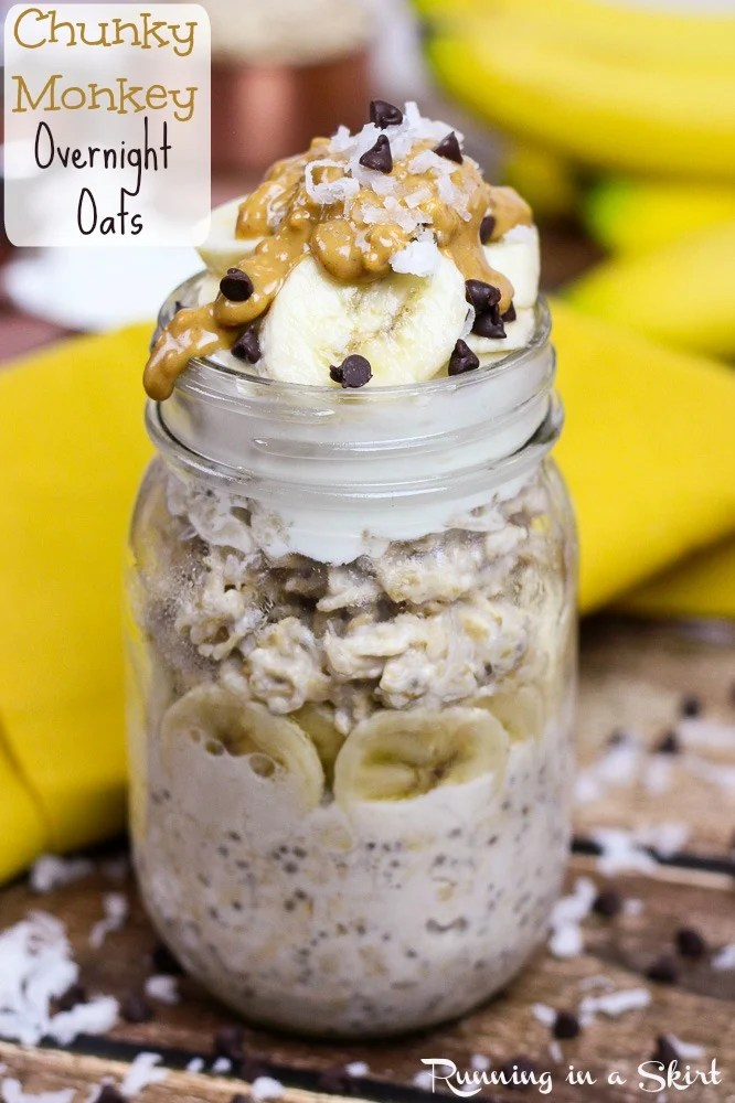 Peanut Butter Chunky Monkey Overnight Oats recipe, healthy and easy breakfast with peanut butter/ Running in a Skirt #SpreadtheMagic