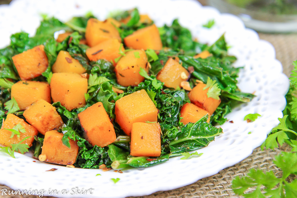 Close up of butternut squash and kale.