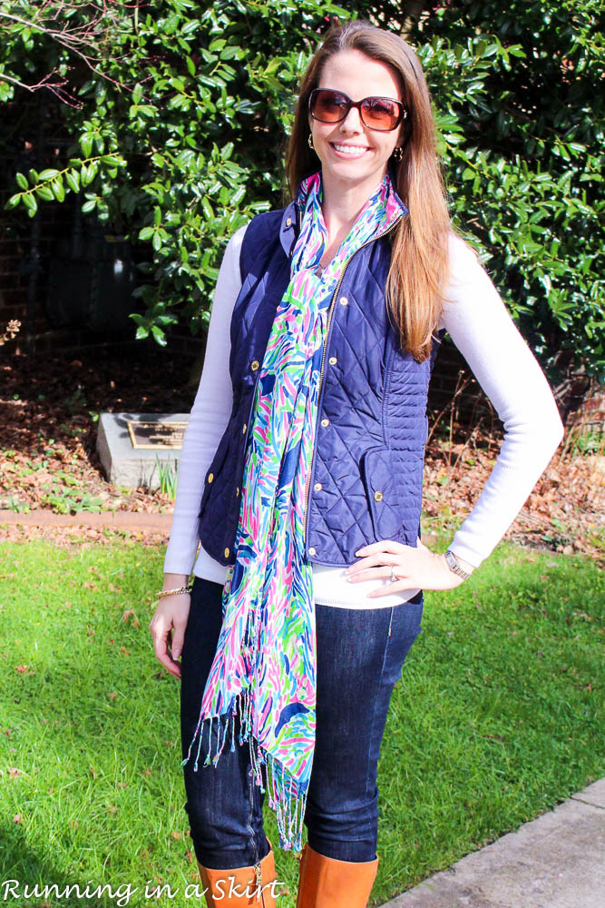 Lilly Pulitzer Navy Vest and Scarf / Running in a Skirt