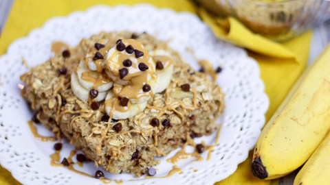 Chunky Monkey Baked Oatmeal Recipes / Peanut Butter, Banana, Clean Eating & Easy Healthy Breakfast! / Running in a Skirt