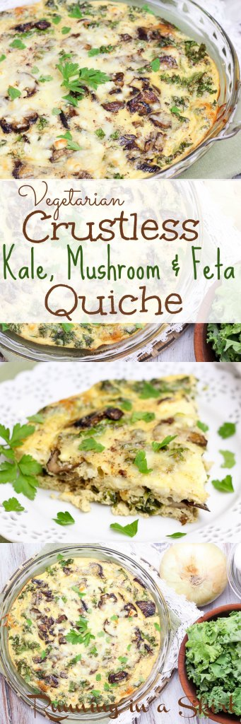 Crustless Kale Quiche Vegetarian Crustless Quiche- Includes healthy swaps to cut calories