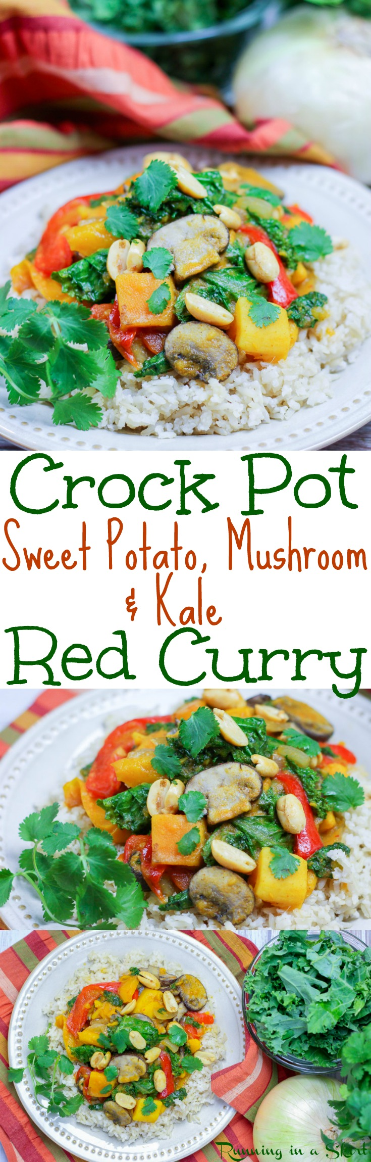 Vegetarian Crock Pot Curry recipe - with coconut milk, sweet potato, mushrooms & kale.  Thai takeout flavors at home in a crockpot meals - easy, healthy and perfect for families.  Simple, clean eating and low carb without the rice. Great for vegans and gluten free. / Running in a Skirt