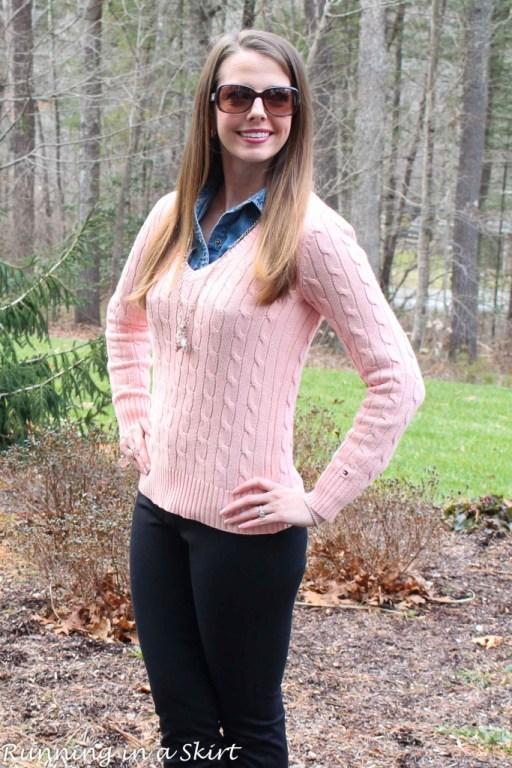 Peach Cable Knit Sweater & Denim Shirt/ Running in a Skirt