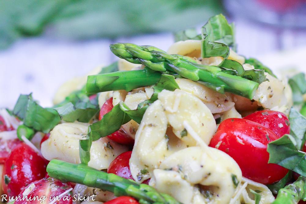 Close up of Pesto Tortellini Salad