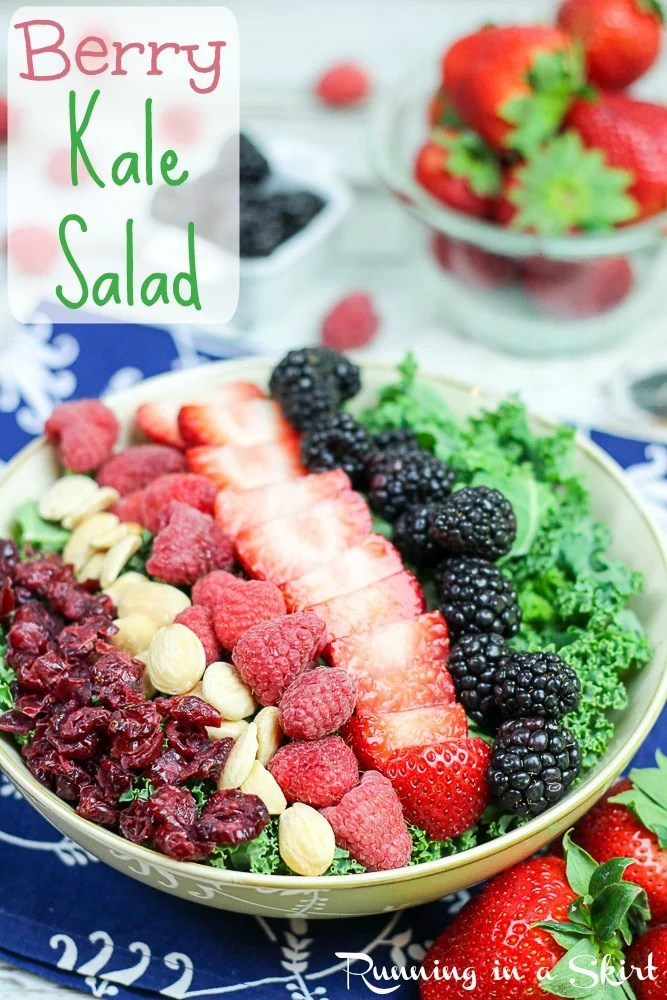 Summer Kale Salad recipe with berries and white balsamic dressing / Running in a Skirt